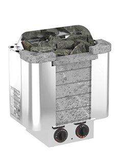 Sauna Poêle Électrique SAWO CUMULUS 4.5 kW avec unité de contrôle intégrée (NB modèle); Multi-Tension: soit monophasé ou triphasé; Boîtier en acier inoxydable avec devant en stéatite