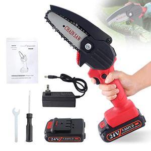 Snowtaros Tronçonneuse électrique 24 V, mini tronçonneuse électrique portable rechargeable pour l'agriculture