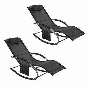 SoBuy® OGS28-Schx2 Lot de 2 Fauteuils à Bascule Transats de Jardin avec Repose-Pieds et 1 Pochette latérale, Bains de Soleil Rocking Chair – Noir