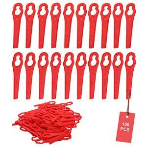 SWAWIS Lot de 100 lames de rechange en plastique pour coupe-bordure FRT18A FRT18A1 Kunst 46155 FRT20A1 Accessoire