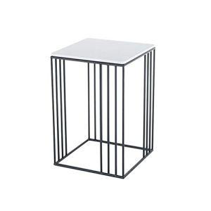 Table Basse Table de Salon Table D'appoint Marbre en fer forgé linelace petite table d'appoint carrée, table de lecture simple salon de loisirs chambre balcon, 40 * 40 * 60cm Table de Salon Table D'ap