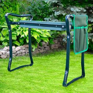 Tabouret de Jardin Pliable Vert – Agenouilloir de Jardin Multifonctions – Tabouret de jardinage avec coussin rembourré pour jardinage
