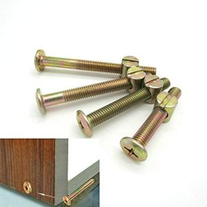 TANGIST 10pcs Connecteur d'écrou de goujon de l'armoire de carbone M6 x100 Numéro de baril et boulon pour berceaux de lit de lit fixation de meubles de fixation (Length : M6x80)