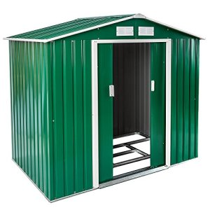 TecTake Abri de Jardin en métal cabane à Outils Rangement   + Fondation   diverses Couleurs au Choix et modèles (Type 1   Verde   no. 402182)