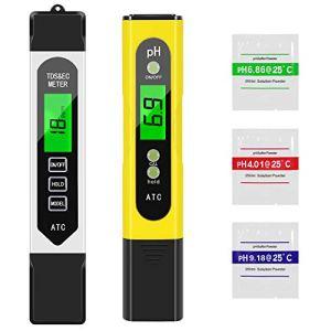 Tencoz Testeur pH Piscine Électronique, 4 en 1 Testeur de Qualité d'eau pH TDS EC Température Kit Digital LCD, Testeur TDS pH Mètre pour Spa, Aquarium, Hydroponie, Eau Potable