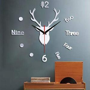 Tête de cerf grand arbre de Noël autocollant de montre murale, silencieux auto-adhésif créatif bricolage 3D éléments de Noël horloge décorative wapiti – acrylique et acier inoxydable – décor de Noël