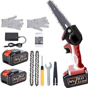 Tronçonneuse, tronçonneuse à batterie 36V, électrique portative, scie à main portable de 6 pouces avec 2 piles rechargeables, outil de jardinage de coupe de branche de bois pour le ménage (rouge)