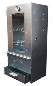 Unbekannt Fumoir XL 80 x 39 x 27,5 cm 3 étages en tôle d'acier galvanisé avec thermostat et fenêtre en verre résistante à la chaleur
