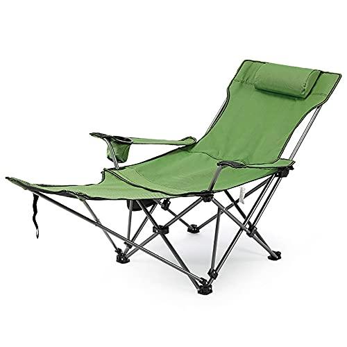 URJEKQ Fauteuil Portable Extérieur Rembourré Ergonomie Robuste Chaise De Camping Pliante avec Porte Gobelet Repose Pieds pour Pique Nique Parc Pêche Plage,Vert