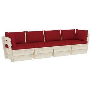 vidaXL Bois d'Epicéa Canapé Palette à 4 Places de Jardin avec Coussins Sofa de Terrasse Meuble d'Extérieur Canapé de Patio Intérieur Salon Porche