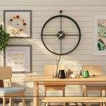 XJZKA Horloge Murale de Jardin extérieur, 50 cm Grande Horloge de Jardin Ronde en Fer forgé géant Ouvert Face rétro Horloge extérieure étanche décoration extérieure intérieure muet horlo