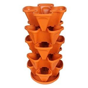 YANRR Pot de Plantation empilable Herb Flower Literie Jardinière empilable Jardin Vertical pour la Culture de Fraises, légumes Tour de Jardinage à 5 Niveaux en Plastique avec Plateau,Orange