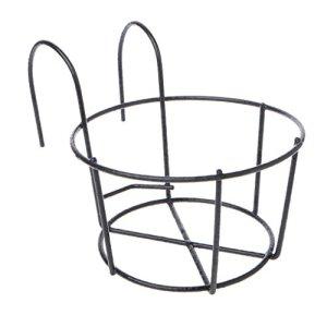 Youlin Support de Pot de Plantes,Fer,avec des Crochets,Rond Balcon Étagère Extérieure Pot de Fleur,pour Maison Garde-Corps De Jardin (Noir)