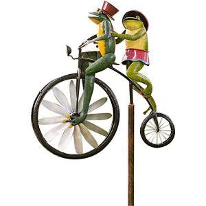 ZHWDZAMM Vent Spinner Grenouille équitation Debout Vintage vélo Cour pelouse Moulin à Vent décoration, Grenouille Ornement Jardin Cour Art pelouse, Cour décor Moulin à Vent pelouse A