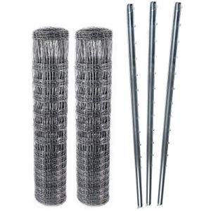 100 m Clôture à gibier Treillis à nœuds Clôture de prairie Clôture forestière 150/12/30+ poteaux de clôture modele lourdprofilés en Z