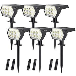 6 Pack Spot Solaire Extérieur, Whousewe Lampes Solaires Etanche 108 LED IP65 Projecteur Solaire Réglable Eclairage Extérieur Solaire pour Jardin 4 Modes 2-en-1 pour Jardin, Extérieur, Chemin, Allée