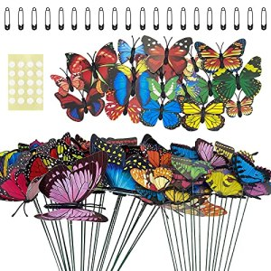 70pcs piquets de Papillon de Jardin Ornements décoratifs de pelouse de Jardin extérieur coloré, pour Pots de Fleurs de Patio Rideaux de fête vêtements décoration de réfrigérateur