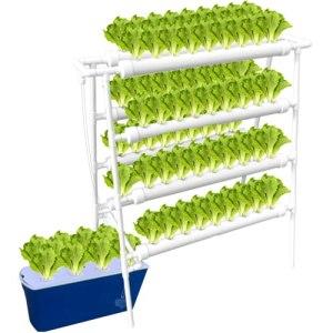ALWUDI Kit de Culture hydroponique, 8 Tubes 4 Couches 72 Sites végétaux hydroponique en PVC Système hydroponique Expérience hydroponique, légumes, Fleurs, Fruits,Solar Panel Model_110*59 * 120cm