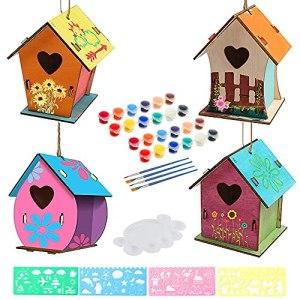 Anyingkai 4pcs Nichoir en Bois Bricolage,Nichoir a Peindre,Maison Oiseaux a Construire,Maison D'oiseau en Bois à Peindre,Maison Oiseaux a Peindre,Maison D'oiseau Bricolage Kit pour Enfant