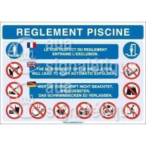 AUA SIGNALETIQUE – Panneau Règlement Piscine 3 Langues – 420×300 mm, Aluminium 3 mm