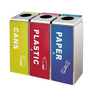 Bacs à ordures Bac de conteneur à ordures en acier inoxydable, 3 poubelles carrées de bac avec étiquettes et seaux internes pour une utilisation commerciale extérieure Déchets et recyclage