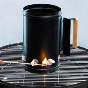 Bakaji allume-feu pour barbecue charbon de bois porte charbon Cheminée d'Usine Seau hauteur 27cm combustion rapide avec manche thermo-protectrice + trous à la base en Acier Noir