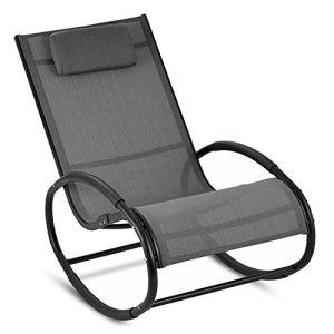 blumfeldt Retiro – Fauteuil à Bascule Relaxant en Aluminium Rocking Chair avec Coussin appuie-tête (Protection Caoutchouc sur accoudoirs, Surface Polyester résistante) – Gris