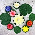 BOVER BEAUTY 10 Pcs Artificielle Lotus Pond Caractéristiques Eau Mousse Simulation Lotus Fleurs Feuilles d'eau flottantes Nénuphars étang Flottant Feuillage des Plantes étang Décorations