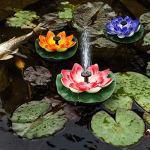 BOVER BEAUTY Floating Fontaine Solaire Artificielle Flottante Lotus Pond Usine à énergie Solaire Pompe Fontaine pour étang Jardins Aquariums Piscines Décor