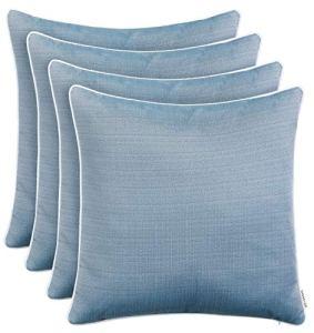 Brandsseller Lot de 4 coussins décoratifs d'extérieur aspect lin texturé résistant à la saleté et à l'eau avec fermeture éclair 45 x 45 cm Bleu