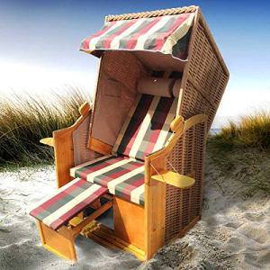 BRAST Corbeille de plage mer Baltique Helgoland 160x90x74 2 places en osier /bois imperméable + housse, trés confortable – chaise longue de jardin Strandkorb – rouge/beige/vert à carreaux