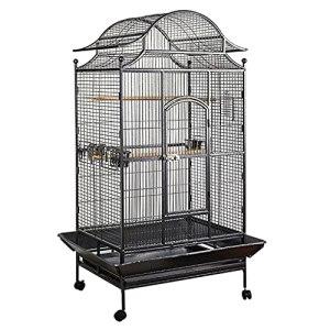 Cage à Oiseaux Ménage Grand Oiseau Cage Peroclet Cage Cockatiel Noir avec Une Cage de Reproduction à la Coupe d'alimentation Convient aux troupeaux d'oiseaux Birdcage (Color : Black)