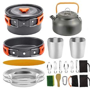 Camping Pot Barbecue Poêle de pique-nique portable Batterie de cuisine Gear Set légère pour 2 à 3 personnes voyageant du camping orange Accessoires pour barbecue