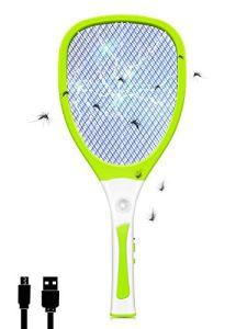 Chenci 3000 V Raquette Moustiquaire électrique avec lumière LED USB rechargeable anti-insectes, anti-insectes, anti-insectes, anti-insectes, anti-mouches