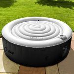 CosySpa Couvercle Gonflable Rond pour Jacuzzi Spa Couverture Gonflable Luxe   Tapis Protection Spa   Deux Tailles Disponibles (1,4 m de diamètre, Noir)