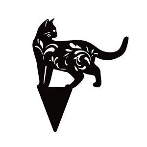 cypressen Cat Yard Art Plaque de jardin en métal avec silhouette d'animal – Décoration de jardin faite à la main – Décoration de jardin pour l'extérieur – Décoration de pelouse