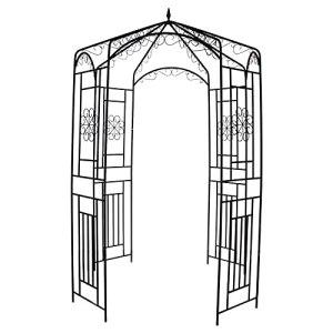 DunShan Arche Jardin Support pour Plante Jardin Trois Dimensions Métal Bois Matériau Tube Acier 28 X 62 X 96 Pouces Noir