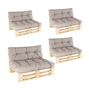 Edenjardi Lot de 4 canapés pour palettes + 4 coussins d'assise 80 x 120 x 16 cm + 4 coussins dossier 42 x 120 x 16 cm, Lux couleur cappuccino, hydrofuge