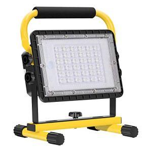 Eletorot Projecteur LED Rechargeable, 60W Projecteurs pour Chantier 20800mAh Rechargeable LED Lampe de Travail Lumières de Sécurité d'urgence étanche pour Atelier, Garage, Terrasse, Jardin