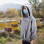 Eulbevoli Veste d'apiculture en Voile de clôture en Polyester et Coton, pour Les travaux d'apiculture à Long Terme(Grey)