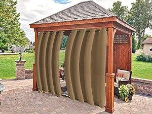 Filjr Rideau de terrasse extérieur,occultant imperméable Rideaux de Porche avec œillets,Rideaux d'intérieur ou d'extérieur pour terrasse, pergola, Marron L:134xH:160cm