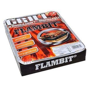 flambit einweggrill to go, avec anzüghilfe, charbon de bois,aluschale,18er Pack (18 x Grille)