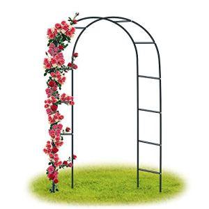 Forever Speed Arche Jardin/Mariage Arche Arceau à rosiers Tuteur Colonne de Jardin,Jardin métal Arche Plantes Grimpantes Métal 240 x 140 x 38 CM/ Noir