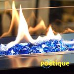 Foyer en verre   Verre pour foyer au propane   Pierre en verre trempé réfléchissant pour cheminée à gaz   Bleu cobalt   1,27 cm   4,5 kg