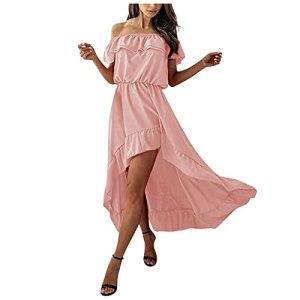 Fulltime® Robe d'été Dames, Robe midi Sexy pour Femmes avec Ourlet à Volants Hors épaule Robes de Plage Robe irrégulière (Pink,L)