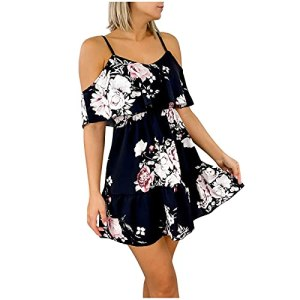 Fulltime® Robe d'été Mesdames, Femmes Sexy Casual A-Line Mini Dress Robes de Plage Boutons de Lin d'été Camisole (Marine,XXL)
