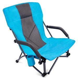 G4Free Chaise de plage pliante à lanières basses, chaises de camping, de concert, de concert, de dos, chaise de festival avec sac de transport