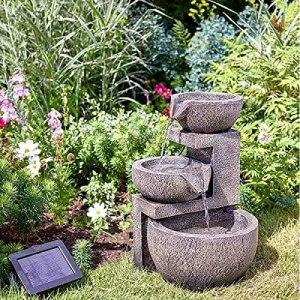 Garden Mile Genoa Cascade Fontaine d'extérieur moderne à énergie solaire pour décoration de jardin