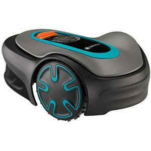 GARDENA Robot Tondeuse Sileno Minimo : programmable avec Application Bluetooth – Tond automatiquement et sans Traces jusqu'à 500 m² – Robot Silencieux adapté à la Croissance de l'herbe (15202-20).
