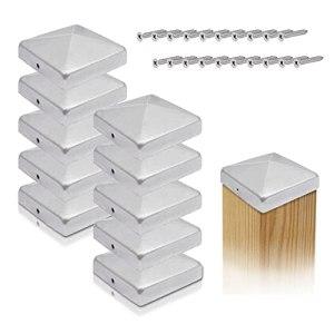 Gardflix Lot de 10 capuchons de poteaux 7 x 7 cm et 9 x 9 cm en acier inoxydable ou galvanisé – Pour poteaux en bois en forme de pyramide avec vis en acier inoxydable galvanisé à chaud 71 x 71 mm